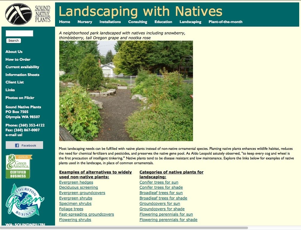 Sound Native Plants - Major Site Upgrade
