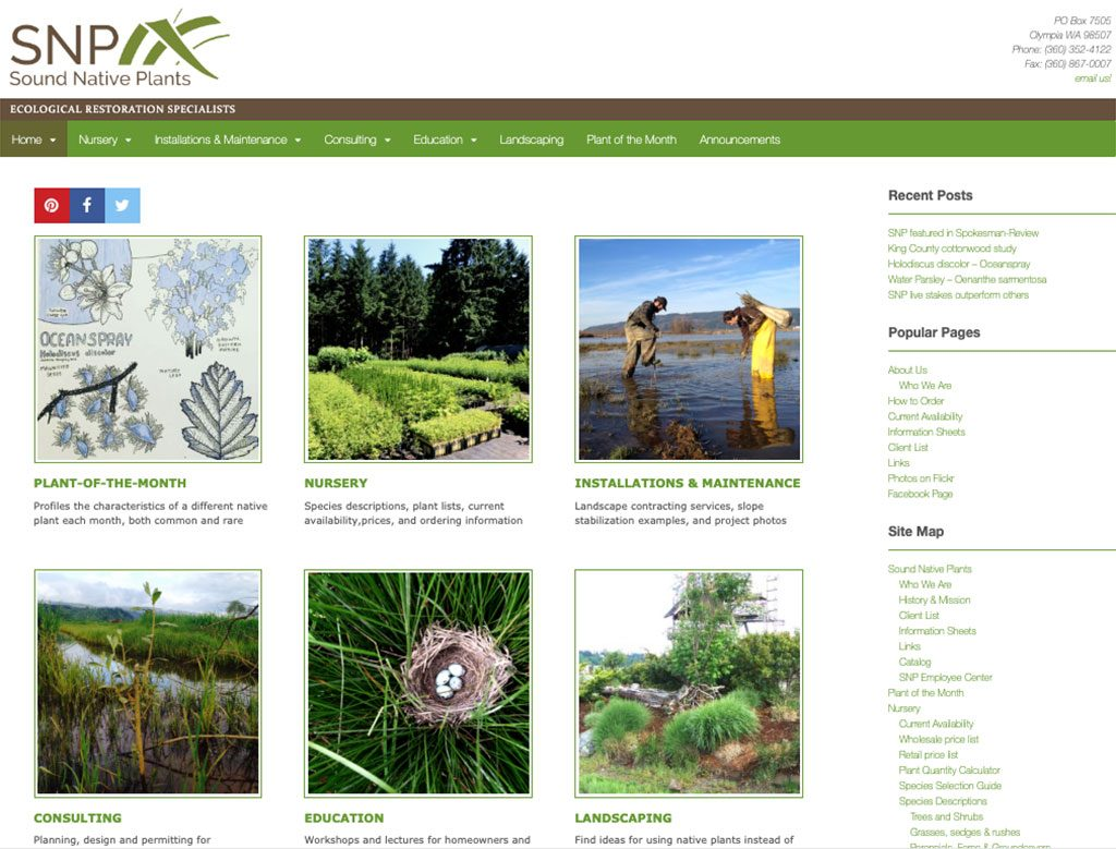 Sound Native Plants is a wholesale/retail native plants nursery in Olympia, Washington.