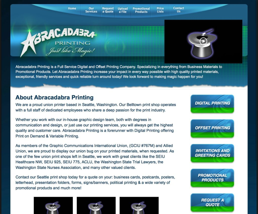 Abracadabra Printing - Website Rescue