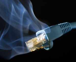 Image of smoking network cable