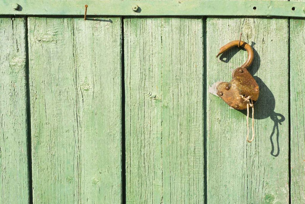 Rusty lock hanging open on an old wooden gate