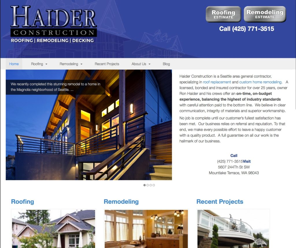 Haider Construction Website
