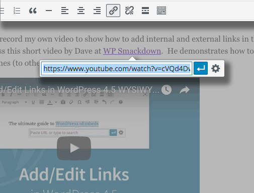 New link editing tools in Wordpress 4.5